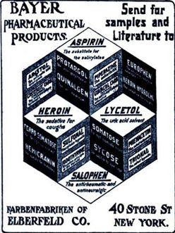 A Bayer Aspirin és a Bayer Heroin egykori közös reklámja.